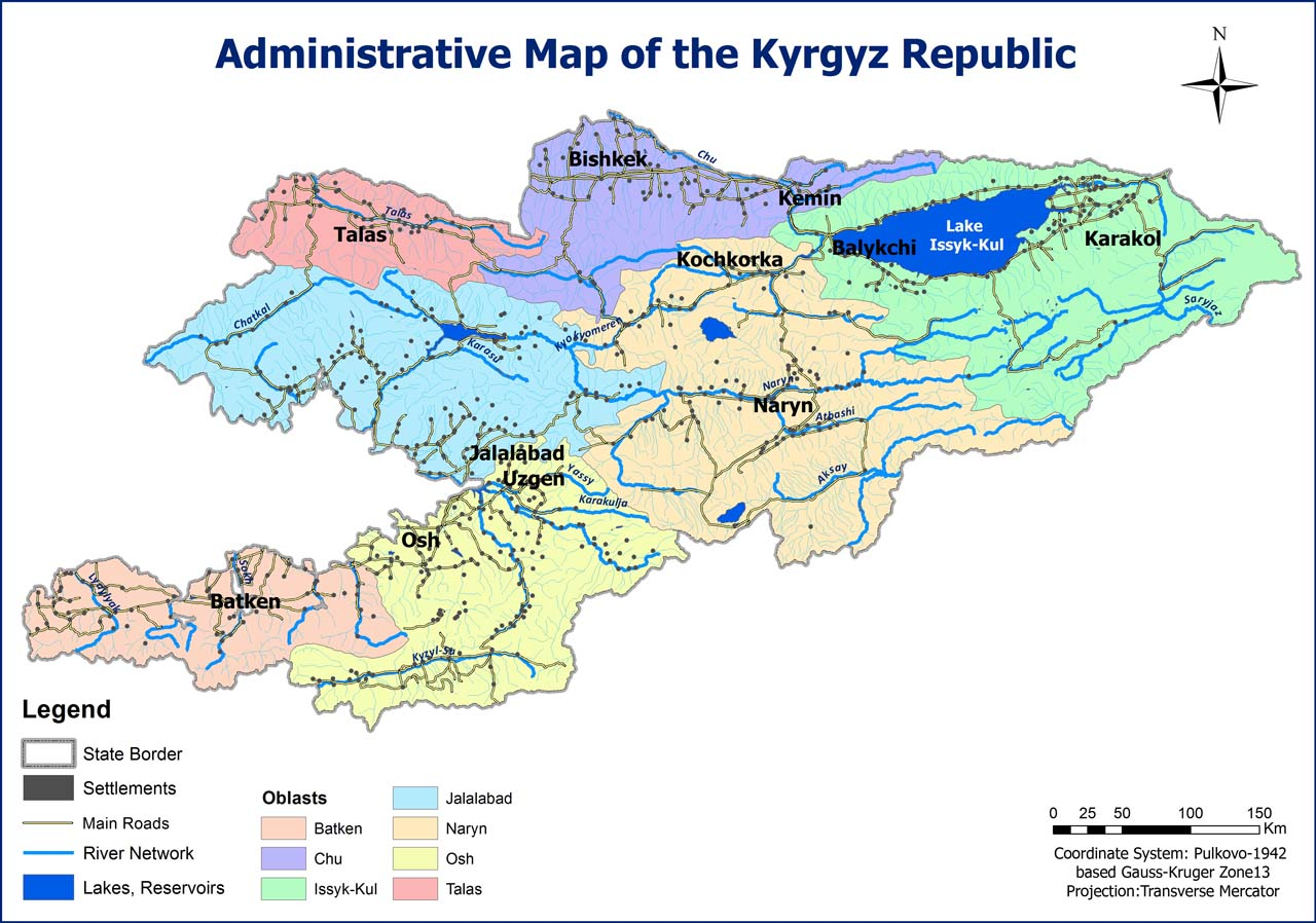 Administrative Map of the Kyrgyz Republic