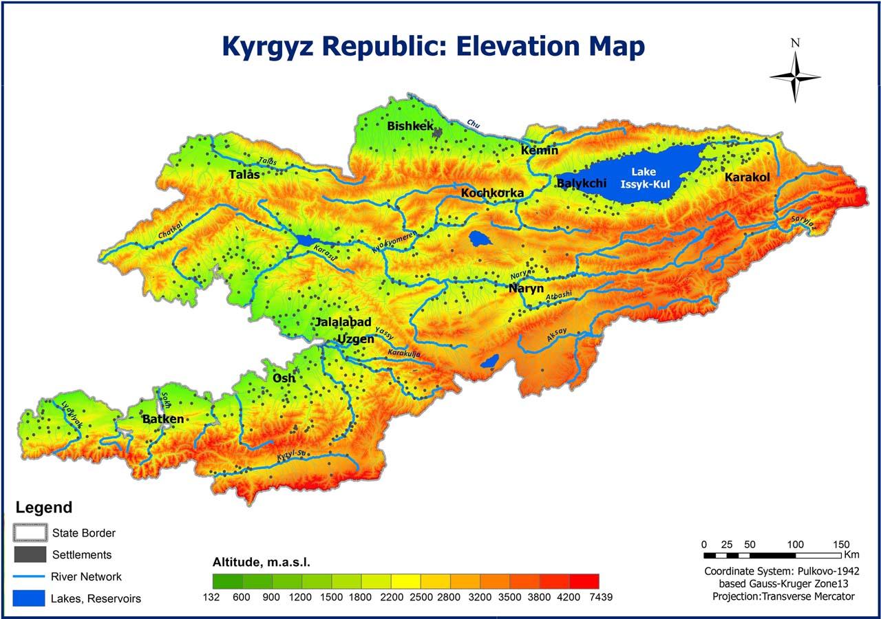 Kyrgyz Republic: Elevation Map