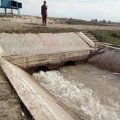 Канал Совхозный. Состояние гидропоста Р-1, канала, перегораживающего  сооружения (Аламединский район)